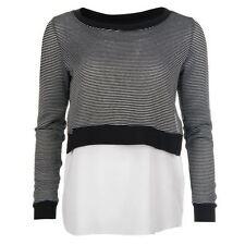 Crew Neck Striped Regular Size Tops & Blouses for Women