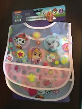 Nickelodeon Paw Patrol Set of 2 Crumb Catcher Bibs Plastic Frosted Pink Trim
