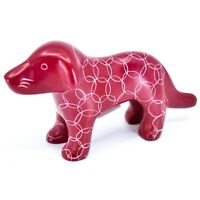 Tabaka Chigware Hand Carved Kisii Soapstone Red Standing Puppy Dog Figure