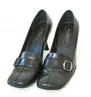 Enzo Angiolini Womens Size 7.5M Black Leather Square Toe Buckle Pump Shoes