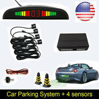 Black LED Display 4 Parking Sensors For Car Reverse Backup Radar Alarm System