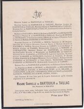*1929 Faire-part décès Mme Gabrielle de BARTOUILH de TAILLAC née NOLIVOS - Pau