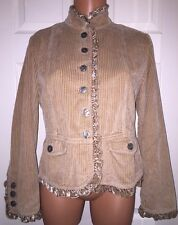 J. JILL 100% Cotton Corduroy Jacket Coat Velvet Ruffle Trim Tan Sz SP