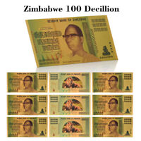 WR 10pcs New Gold Foil Zimbabwe 100 Decillion Dollars Banknote Collection +COA
