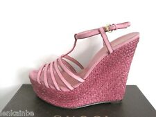 Gucci Vintage Rose Espadrille Wedge Platform Sandals Shoes 40.5 10.5 $595