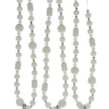 Kurt Adler White Pearl Silver Christmas Tree 6' Garland Beads Set of 2