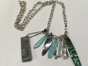 """Robert Lee Morris Blue Abalone Turquoise Silver Plated Necklace 30"""" NEW RM45"""