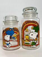 Set of 2 Vintage 1965 Peanuts SNOOPY WOODSTOCK Glass Goodies Canister Jar Mint