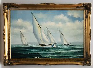 Newport RI Estate Huge Nautical Maritime Ocean Sailboat Race Oil Painting Signed