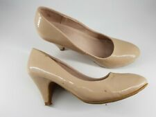 Dorothy Perkins size 5 (38) nude faux patent leather cone heel court shoes