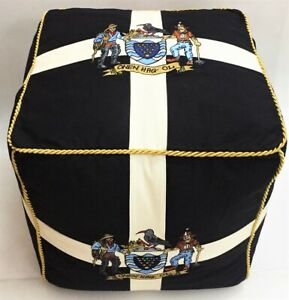 Large Cornwall Flag Cornish Footstool / Pouffe with Embroidered One & All Crest