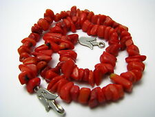 UNDYED CORAL NATURAL REAL CORAL NECKLACE w/ STERLING SILVER LOCK Turkey Excel