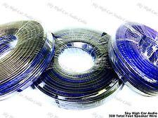 100' feet EACH 14 16 & 18 Gauge AWG BLUE/BK 300' Speaker Wire Car Home Audio