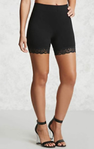 Ladies Scallop Lace Trim Jersey Gym Bike Cycling Hot Pants Tights Womens Shorts