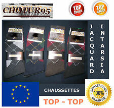 LOT DE 6 A 48 PAIRES DE CHAUSSETTES JACQUARD / INTARSIA - COTON - 39/42 ou 43/46