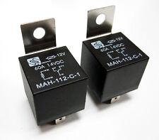 (2) 12 Volt 60A Automotive Relays 60 Amp Metal Mounting Tab SPDT  NEW