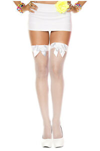 Plus Size FISHNET Thigh High STOCKINGS w/ Bows OVER-THE-KNEE School Girl QUEEN