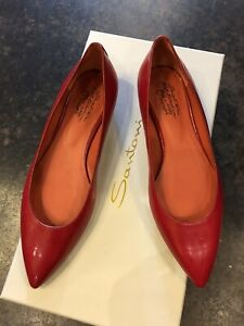 Santoni Red Leather Limited Roses Collection Ballet Flats 37