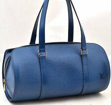 Authentic Louis Vuitton Epi Soufflot Hand Bag Blue LV A3553