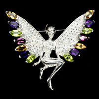 Marquise Amethyst Citrine Peridot 8x4mm Cz 925 Sterling Silver Fairy Brooch