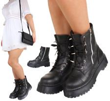 Ladies Spike Platform Heel Military Ankle Black Boots Grunge Goth Punk Steampunk