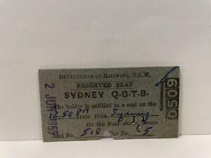 NSWGR Railway Reserved Seat Ticket Sydney QGTB 1959