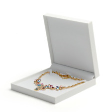 Oirlv White Jewellry Box with Leatherette Paper for Packing Ring Bracelet Gift