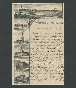 Tarnowitz Tarnowskie Góry Poland 1893 Pictorial Letter Buildings, Synagogue, ++