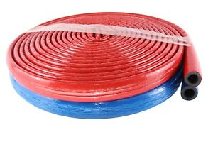 BLUE RED INSULATION FOR USE WITH PEX AL PEX,COPPER,PLASTIC PIPE 10 METER LONG