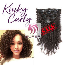 7pcs 70g Afro Kinky Curly Clip in Real Remy Human Hair Extensions Black Clip ins