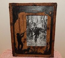 "BIRD HUNTER FRAME 8"" X 10""~HOLDS 4"" X 6"" PICTURE~RESIN WOOD FRONT~MAN DOG BIRD"