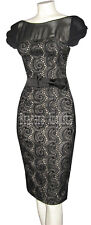 KAREN MILLEN EXQUISITE ULTRA RARE BLACK WOOL LACE SHIFT RARE DRESS SZ 14 BNWT