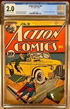 Action Comics #30 Comic Book 1940 November 11/40 CGC D.C. Comics Superman Zolar