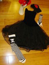 Day of the Dead black velvet net dress sz S woman's costume Muertos Mardi Gras