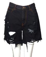 FAITH CONNEXION-Black Distressed Denim Shorts, Size- Small