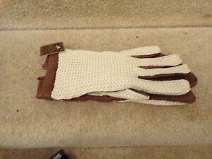 NEW Mens Genuine Leather/Crochet Vintage Driving Gloves Sz 7 MEDIUM