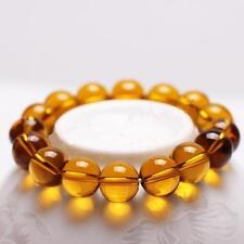 Pulsera de piedras preciosas ámbar de vidrio 10mm granos de 7 Pulgadas Elástico