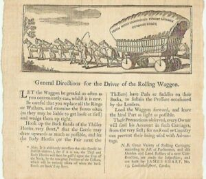 """Antique 18th C. Colonial Print 8"""" x 9"""" """"DIRECTIONS FOR DRIVER of Rolling WAGGON"""""""