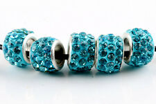 20Pcs SILVER MURANO GLASS BEADS LAMPWORK Fit European Charm Bracelet DIY Jewelry