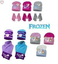 Childrens Girls Frozen Disney Winter Beanie Set Hat Gloves Scarf