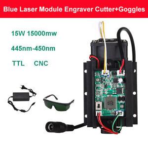 Focusable DIY 15W 450nm 15000mW Blue Laser Module TTL CNC Fan with Free Goggles