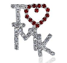 "MARY KAY Rhinestone Pin - ""I LOVE MK""  Very Professional-2 colors-1 1/4 inches"