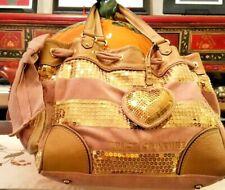 Juicy Couture VINTAGE Purse/LrgPink&BeigeVelour/LeatherTrim/GoldSequins/BeigeBow