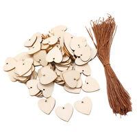 100 Stück leere Herzform Holzscheiben Scheiben für DIY Verzierungen