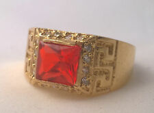 G-Filled Mens 18ct yellow gold simulated diamond ruby ring USA size 15.5 Aus Z+6