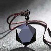Frauen Männer Halskette Kristall Obsidian Stein Anhänger Mode Schmuck Zubehör