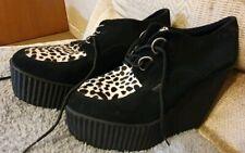 Underground Platform Wedge suede leather Shoes Animal Print Size 40 UK 6.5 NEW