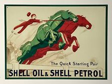 Shell Oil & Petrol Quick Starting Pair Tin Metal Wall Sign