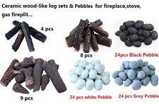 Wood-like Ceramic decorative Log for Fireplace, stoves, gas firepit Set 4,8 9pcs