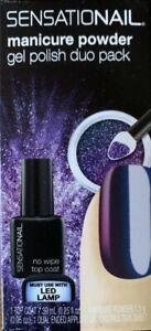 SENSATIONAIL Manicure Powder Gel Polish Duo Pack Blue Chameleon No Wipe Top Coat